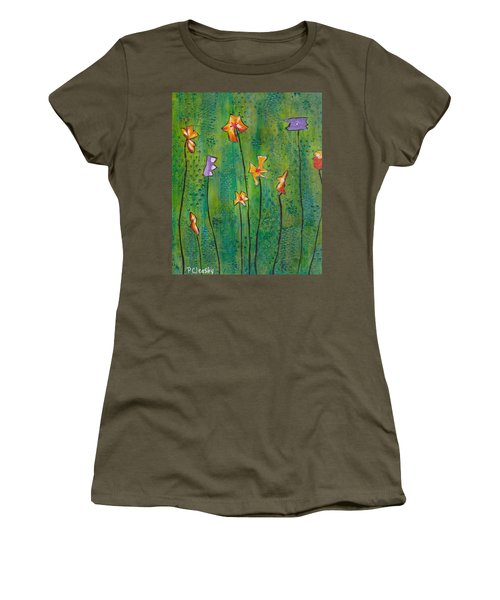 Abstract Flowers Orange, Purple Women's T-Shirt (Athletic Fit)