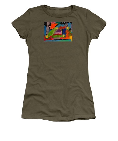 Women's T-Shirt (Junior Cut) featuring the drawing Abstract No. 7 Inner Landscape by Maria  Disley