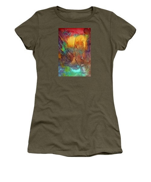 Women's T-Shirt (Junior Cut) featuring the painting Abstract Reflection by Allison Ashton