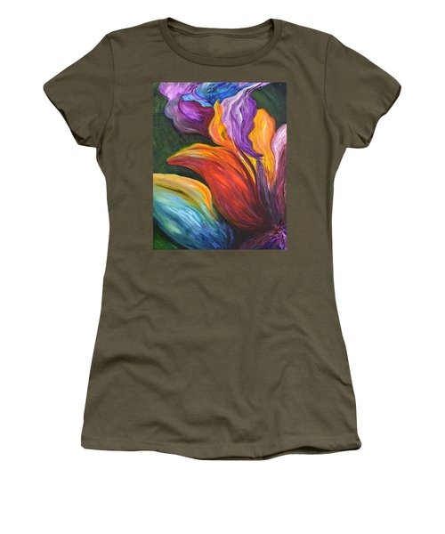 Abstract Vibrant Flowers Women's T-Shirt