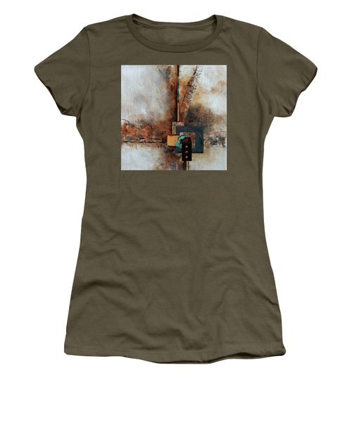 Women's T-Shirt (Junior Cut) featuring the painting Abstract With Stud Edge by Joanne Smoley