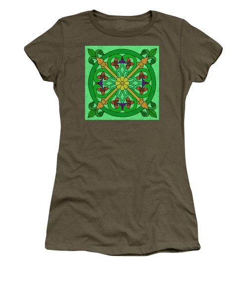 Acorns On Light Green Women's T-Shirt (Junior Cut) by Curtis Koontz