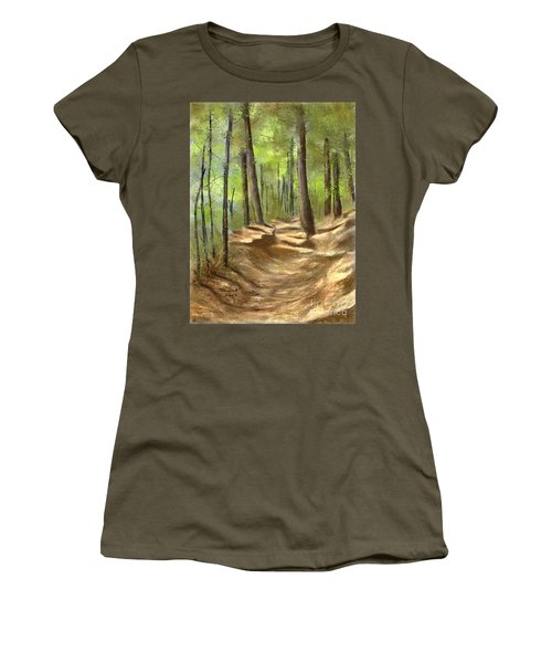 Women's T-Shirt (Junior Cut) featuring the painting Adirondack Hiking Trails by Judy Filarecki
