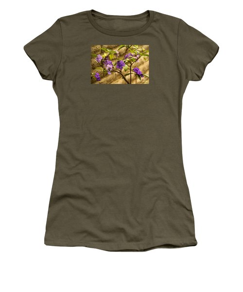 Women's T-Shirt featuring the photograph Adobe Garden Wall by Linda Shafer