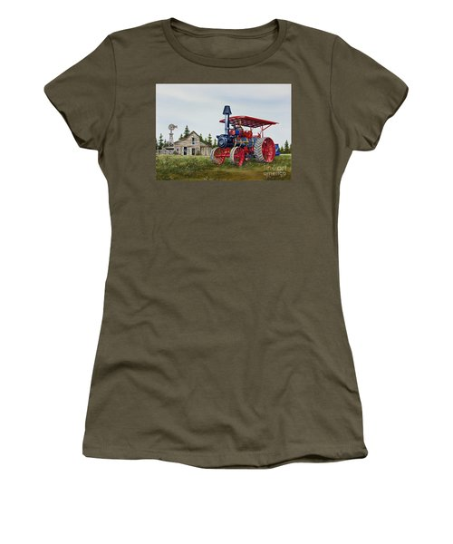 Women's T-Shirt (Junior Cut) featuring the painting Advance Rumely Steam Traction Engine by James Williamson