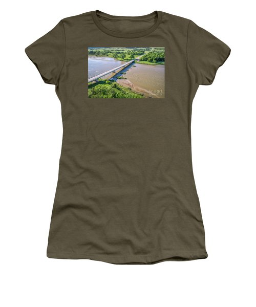 aerial view of Niobrara River in Nebraska Sand Hills Women's T-Shirt