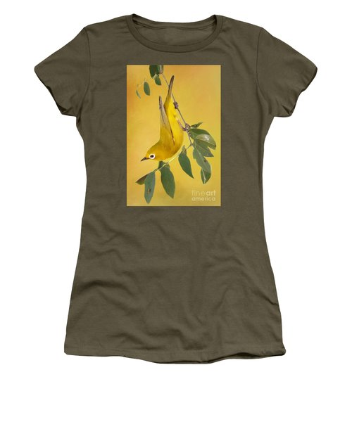 African Yellow White-eye Women's T-Shirt (Junior Cut) by Myrna Bradshaw