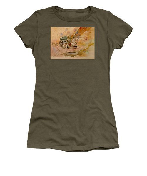 Women's T-Shirt (Junior Cut) featuring the painting After The Charge by Ray Agius