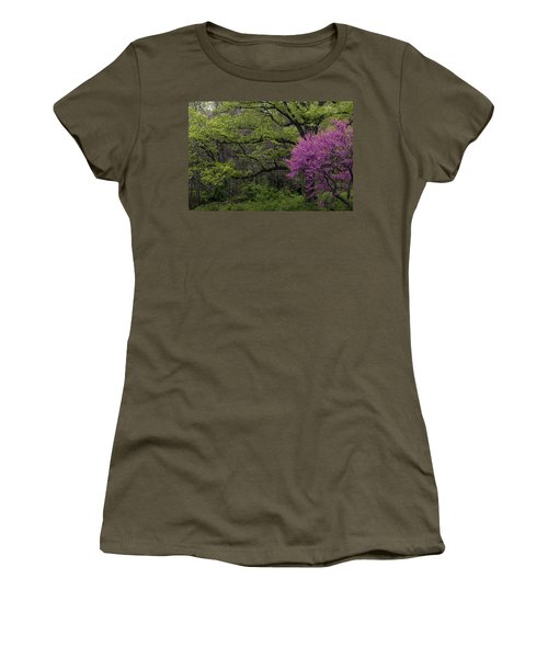 Afton Virginia Spring Red Bud Women's T-Shirt (Junior Cut) by Kevin Blackburn