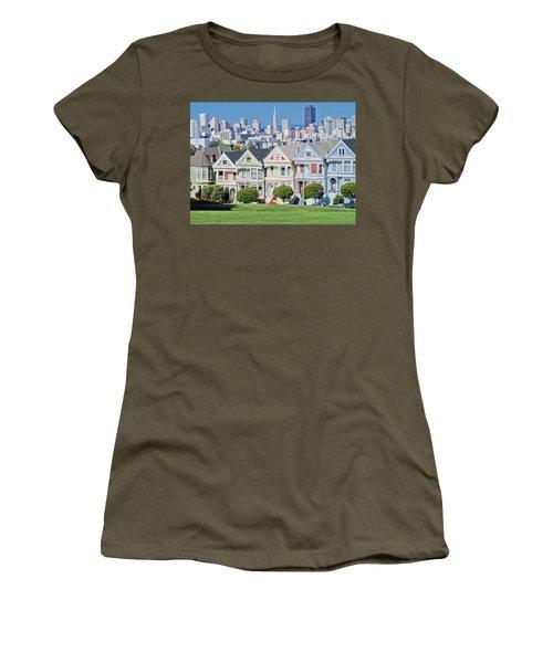 Women's T-Shirt (Junior Cut) featuring the photograph Alamo Square by Matthew Bamberg