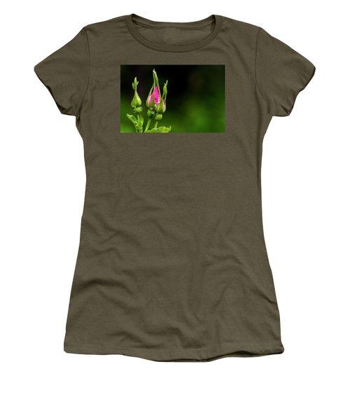 Women's T-Shirt (Junior Cut) featuring the photograph Alberta Rose Buds by Darcy Michaelchuk