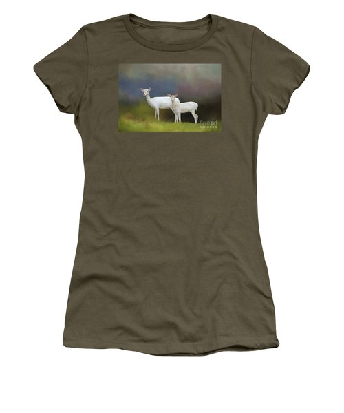 Albino Deer Women's T-Shirt (Junior Cut) by Marion Johnson