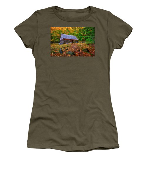 Alex Cole Cabin At Jim Bales Place, Roaring Fork Motor Trail In The Smoky Mountains Tennessee Women's T-Shirt