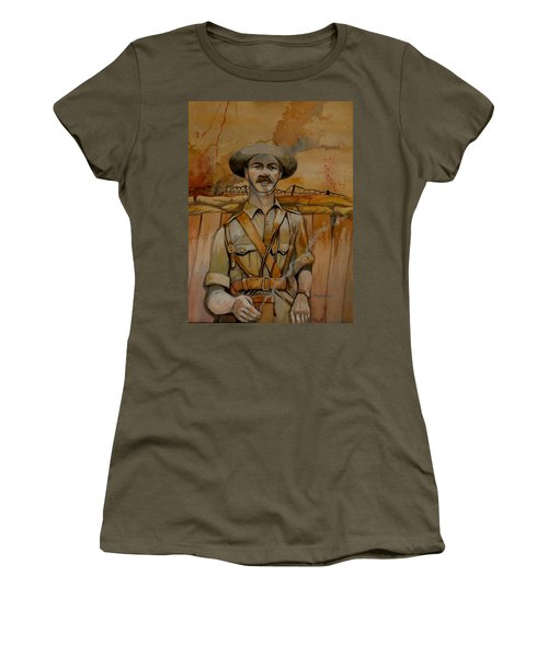 Women's T-Shirt (Junior Cut) featuring the painting Alfred Shout Vc by Ray Agius