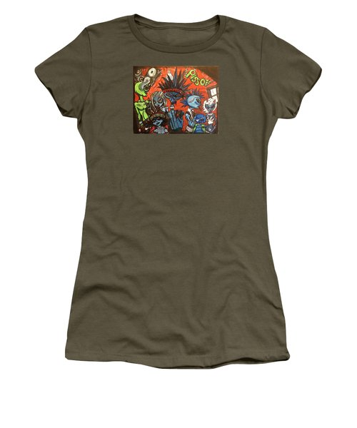 Women's T-Shirt (Junior Cut) featuring the painting Aliens With Nefarious Intent by Similar Alien