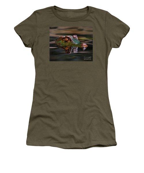 Alligator Above Water Reflection Women's T-Shirt (Junior Cut) by Loriannah Hespe