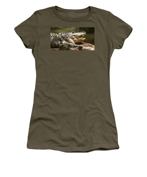 Women's T-Shirt featuring the photograph Alligator At Lowry Park Zoo by Richard Goldman