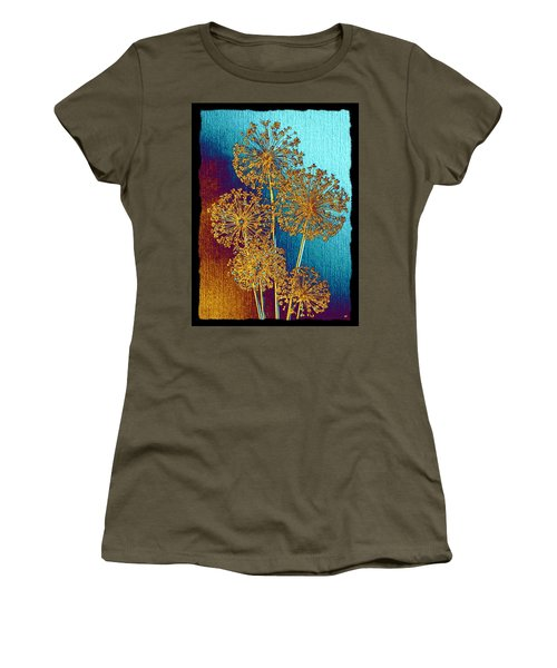 Women's T-Shirt (Athletic Fit) featuring the mixed media Alluring Allium Abstract 2 by Will Borden