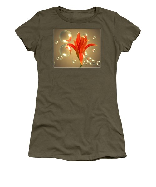 Women's T-Shirt (Junior Cut) featuring the photograph Almost A Blossom In Bubbles by Joyce Dickens