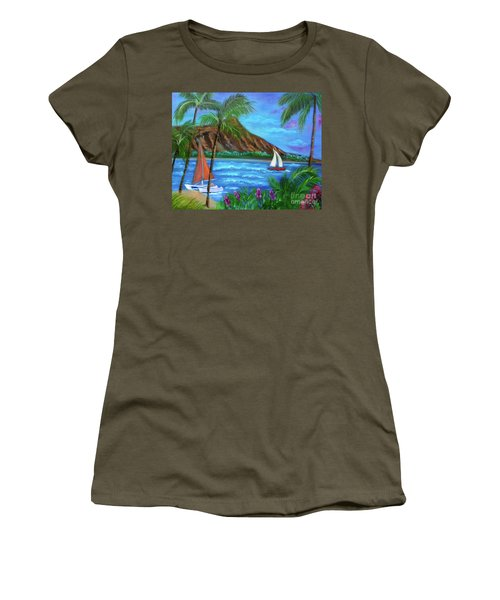 Aloha Diamond Head Women's T-Shirt (Junior Cut) by Jenny Lee