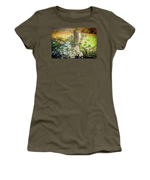 Women's T-Shirt (Junior Cut) featuring the photograph Along A Fence Row by Douglas Stucky