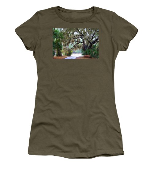 Women's T-Shirt (Junior Cut) featuring the photograph Along The Path by Kathryn Meyer