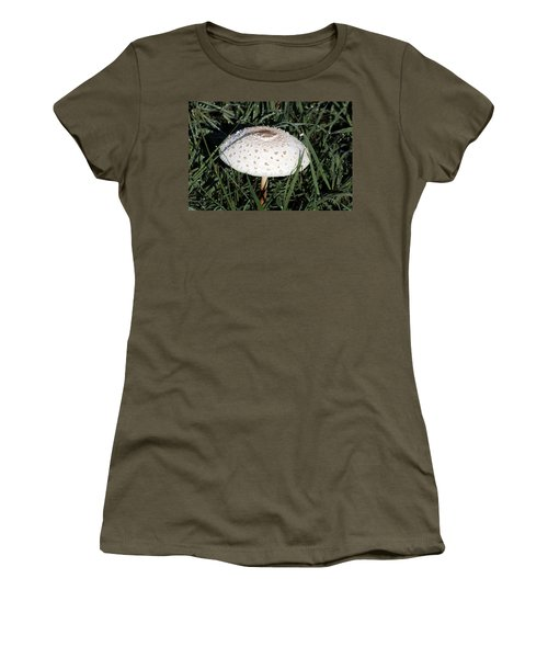 Women's T-Shirt (Athletic Fit) featuring the photograph Amanita Mushroom And Morning Dew by Sheila Brown