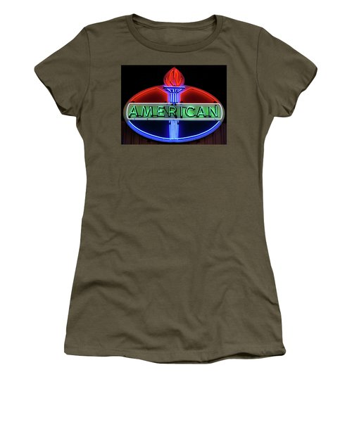Women's T-Shirt (Junior Cut) featuring the photograph American Oil Sign by Sandy Keeton