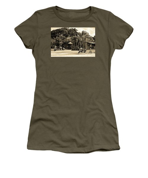 Women's T-Shirt (Athletic Fit) featuring the photograph American Roadhouse Sepia by Laura Fasulo