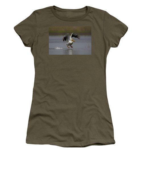 American White Pelican Da 4 Women's T-Shirt (Junior Cut) by Ernie Echols