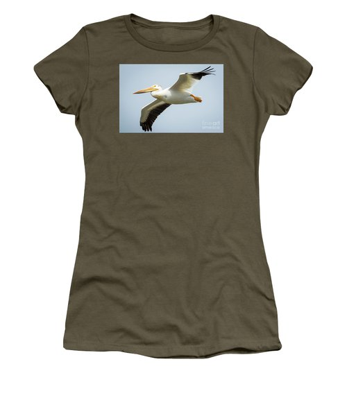 Women's T-Shirt (Athletic Fit) featuring the photograph  American White Pelican Flyby  by Ricky L Jones