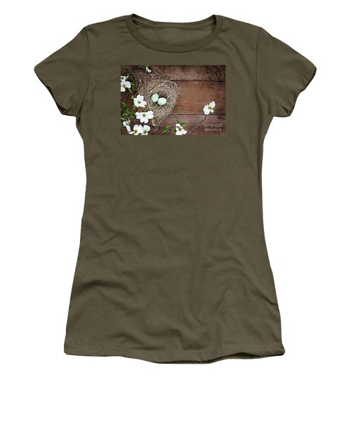 Women's T-Shirt (Junior Cut) featuring the photograph Amid The Dogwood Blossoms by Stephanie Frey
