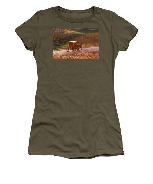 Amish Buggy Afternoon Sun Women's T-Shirt (Athletic Fit)