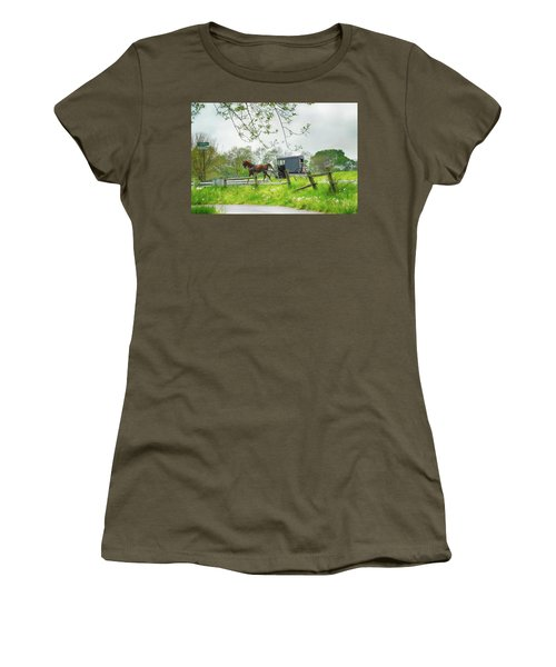 Amish Buggy Along Ronks Road Women's T-Shirt (Athletic Fit)