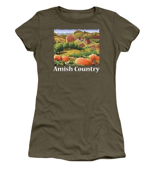Amish Country T Shirt - Pumpkin Patch Country Farm Landscape 2 Women's T-Shirt