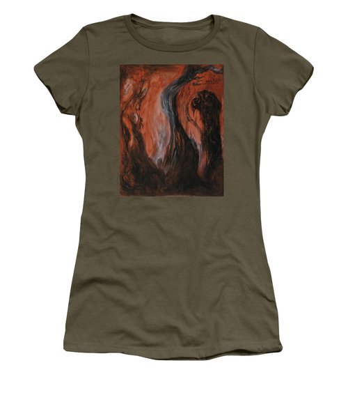 Women's T-Shirt (Junior Cut) featuring the painting Amongst The Shades by Christophe Ennis