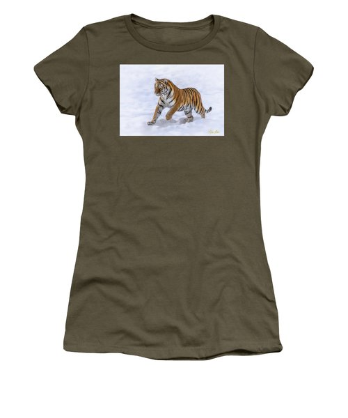 Women's T-Shirt (Athletic Fit) featuring the photograph Amur Tiger Running In Snow by Rikk Flohr