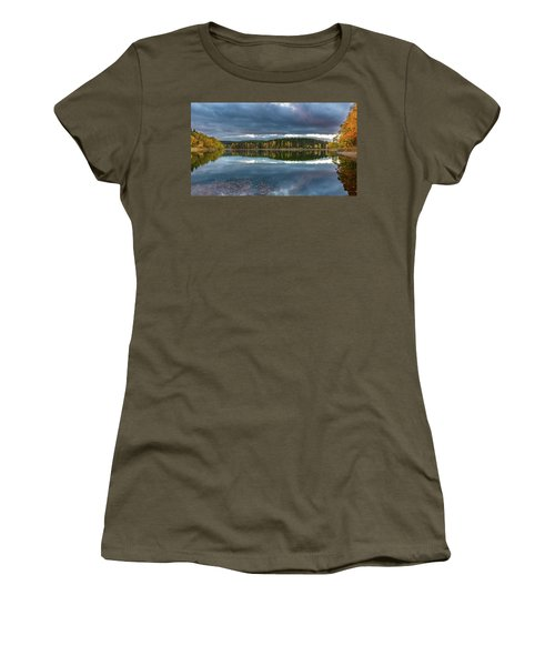 An Autumn Evening At The Lake Women's T-Shirt (Junior Cut) by Andreas Levi