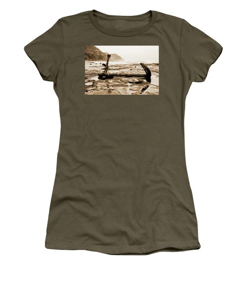 Women's T-Shirt (Athletic Fit) featuring the photograph Anchor At Rest Sepia Tones by Angela DeFrias