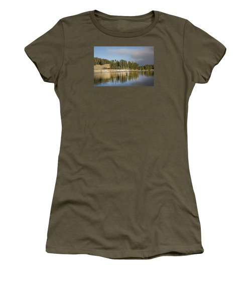 Angler Amidst Gorgeous Surroundings And A Calm River In The Yellowstone In Wyoming Women's T-Shirt (Athletic Fit)