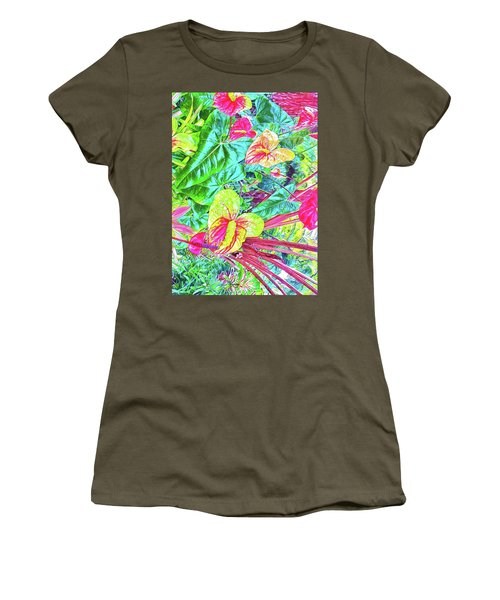 Anthuriums Pink And Turquoise Women's T-Shirt