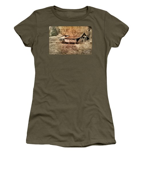 Antique Log Beam Barn Southern Indiana Women's T-Shirt (Junior Cut) by Scott D Van Osdol