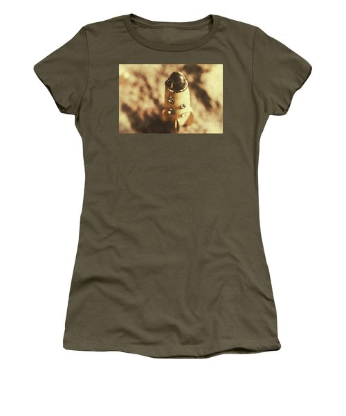 Antique Rocket Ship On Faded Asteroid Women's T-Shirt