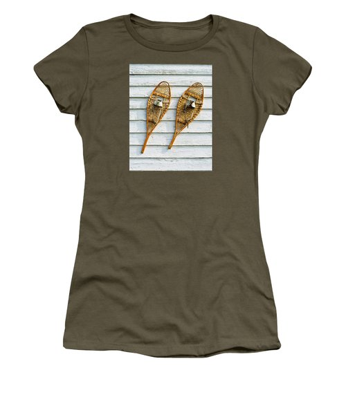 Women's T-Shirt (Junior Cut) featuring the photograph Antique Snowshoes On The Wall by Gary Slawsky