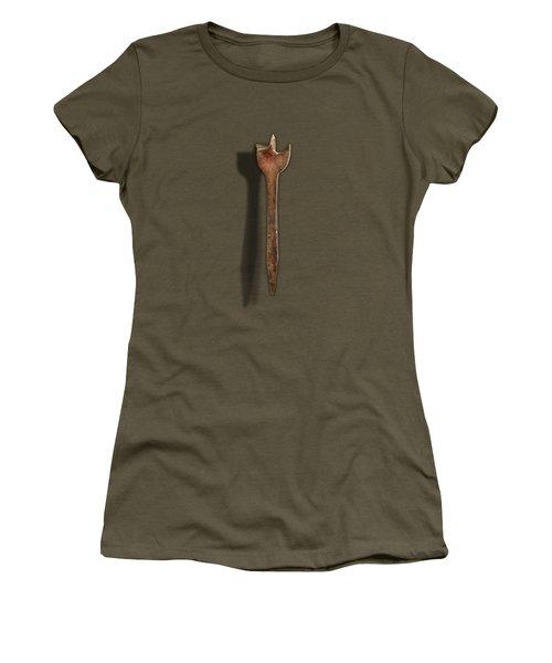 Antique Wood Boring Bit On Black Women's T-Shirt