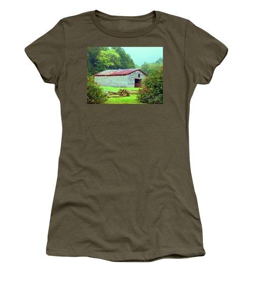 Appalachian Livestock Barn Women's T-Shirt (Junior Cut) by Desiree Paquette
