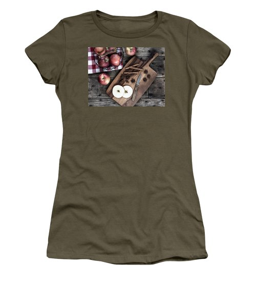 Women's T-Shirt (Athletic Fit) featuring the photograph Apples And Cinnamon  by Kim Hojnacki