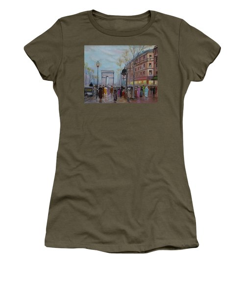 Women's T-Shirt featuring the painting Arc De Triompfe - Lmj by Ruth Kamenev