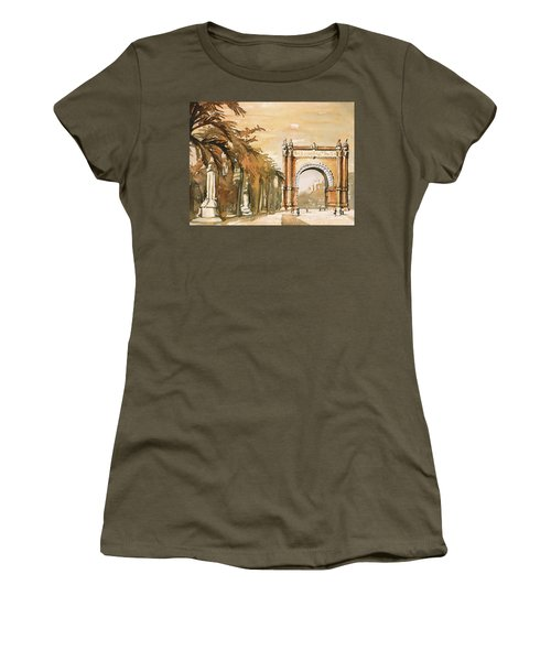Women's T-Shirt (Junior Cut) featuring the painting Arch- Barcelona, Spain by Ryan Fox