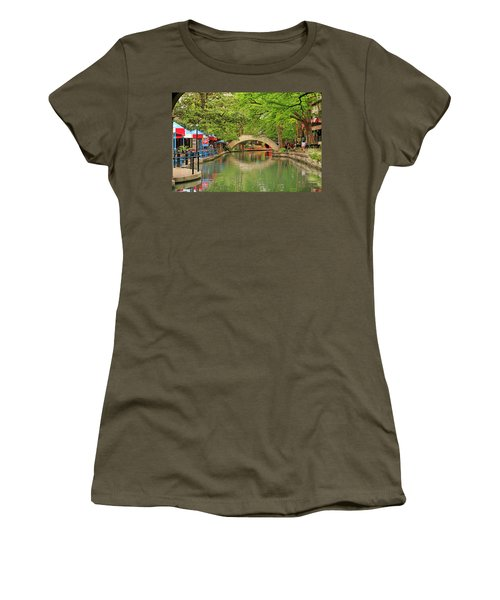 Women's T-Shirt (Junior Cut) featuring the photograph Arched Bridge Reflection - San Antonio by Art Block Collections